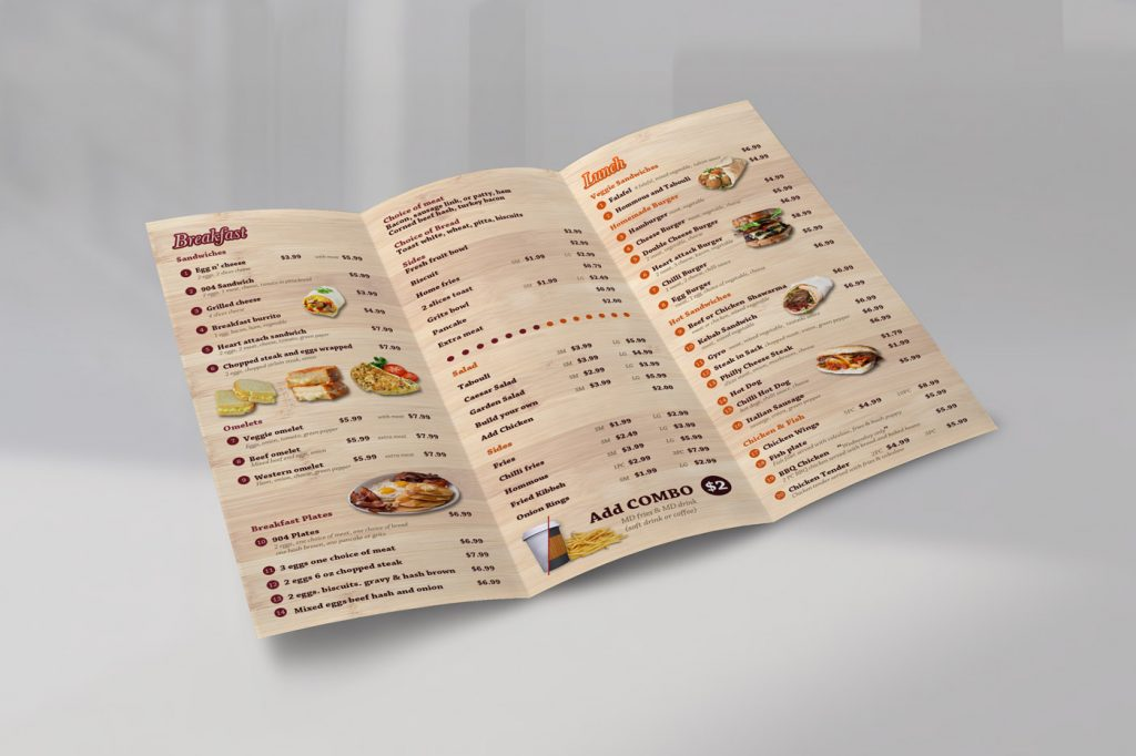 904 restaurant menu inside