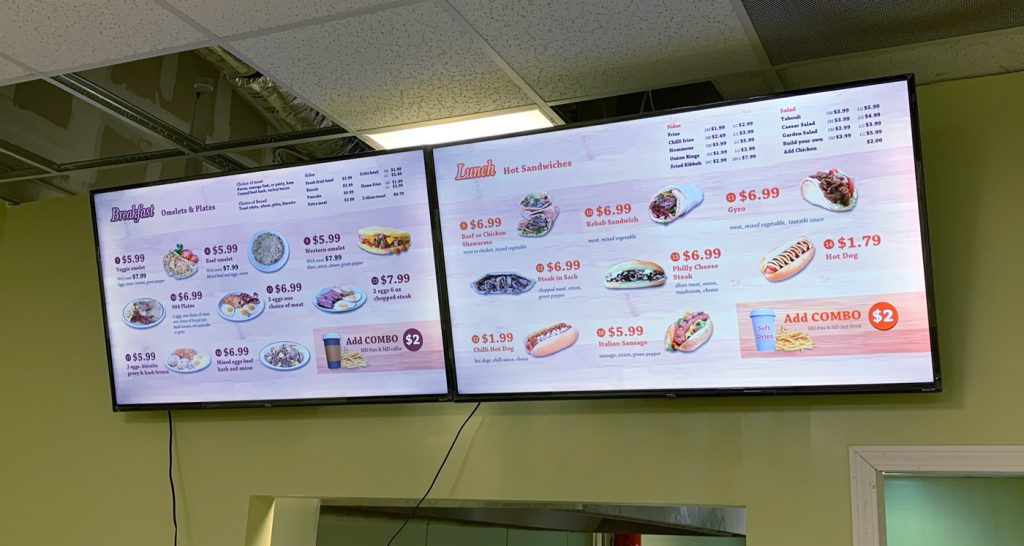 904 restaurant tv screen menu digital menu